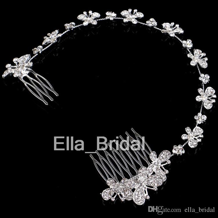 New Design Crystal Butterfly Bridal Hair Jewelry Beautiful Wedding ...