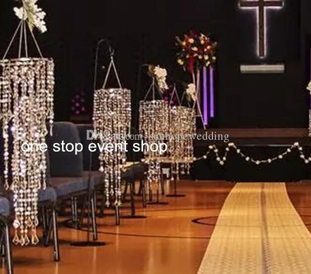 use for hangging only Decorative iridescent acrylic chandelier column , Hanging crystal lighted beaded column for weddings