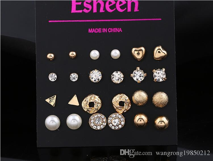 Новый дешевый Алмаз жемчужина любовь сердце Стад костюм для мужчин и женщин площади Циркон Стад 12 пар два цвета можно выбрать