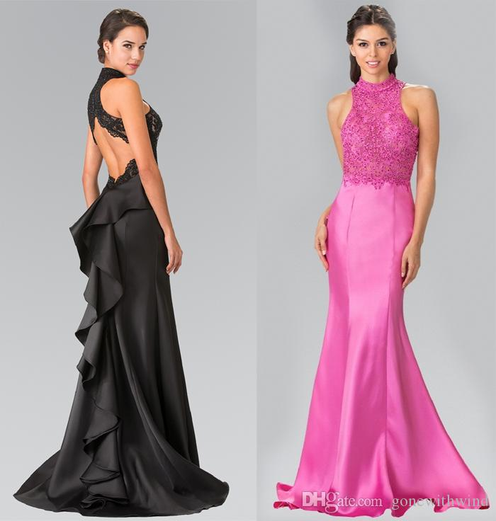High Neck Embroidered Cutout Back Long Prom Dresses 2017 Ruffle Back ...
