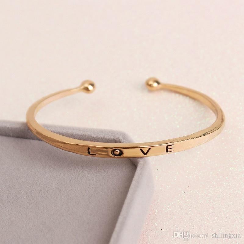 2017 New Women's Fashion Opening Adjustable Love Bangle Bracelet lover gifts