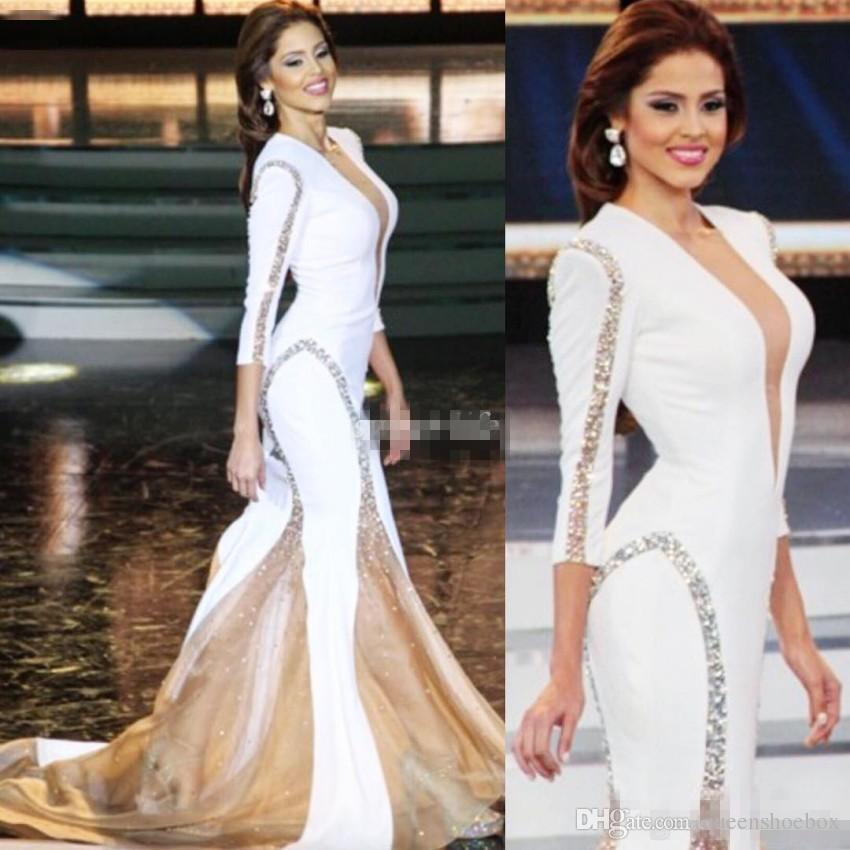 Miss World White Pageant 2017 Evening Gowns Sheer Deep V-Neck Beading Mermaid Sexy Long Sleeve Women Formal Wear Dress for Prom Party Cheap