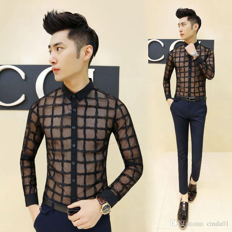 2019 2017 New Fashion Men Clothing Lace Shirts Cool See Through Male