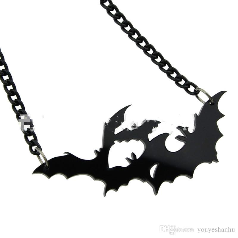Halloween Fashion Punk Black Large Vampire Black Gothic Bat Pendant Necklace for Women Lady Necklace Color: Black