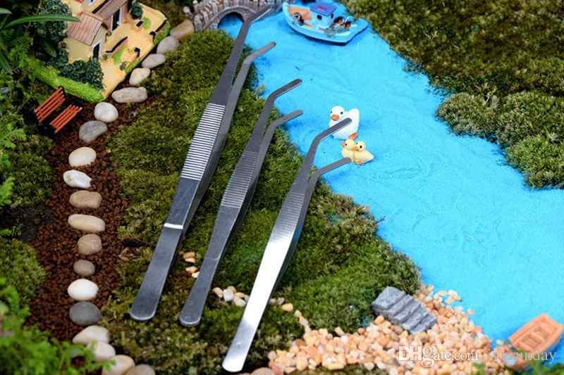 Straight Bend Stainless Steel Tweezers Moss Micro Landscape Ornaments Special Gardening Tools DIY ZAKKA Fairy Garden Bonsai Craft Tools