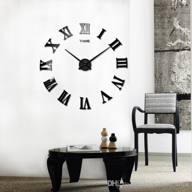 Living Room DIY large quartz Acrylic mirror wall clock 3D Roman numerals design and Fashion Art Home Decor wall stickers clocks