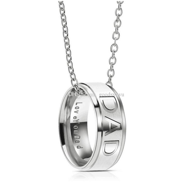 DAD MOM Stainless Steel Ring Necklace Engraved Love You Letters Jewelry Best Gift For Mother Father Christmas Gifts