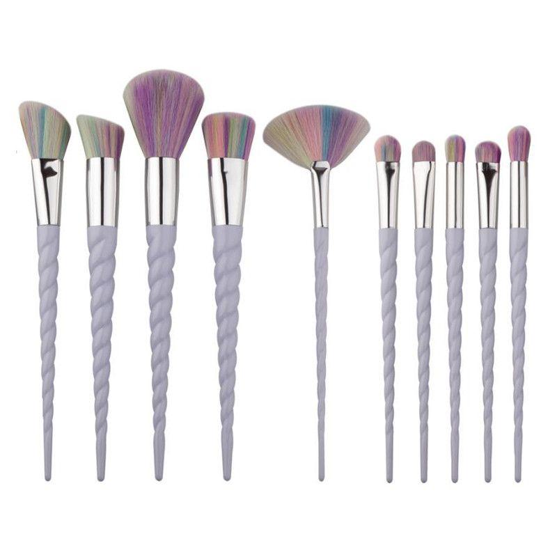 Спираль Красочный Pro макияж кисти Set Контур Пудра Тени для век Lip Blush Powder Foundation Кабуки вентилятор кисть 10шт / комплект G10043 EMS DHL