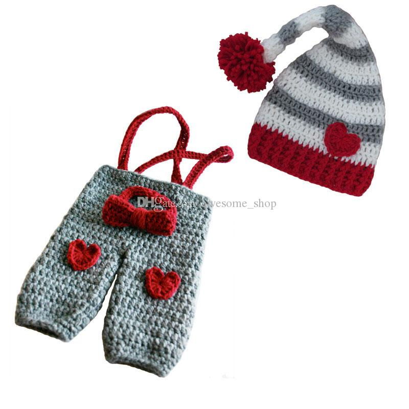 f8e8a2a86 Newborn Knit Valentine Day Costume,Handmade Crochet Baby Boy Girl Grey  Pixie Pompom Hat,Heart Suspenders and Bow Tie Set,Infant Photo Prop