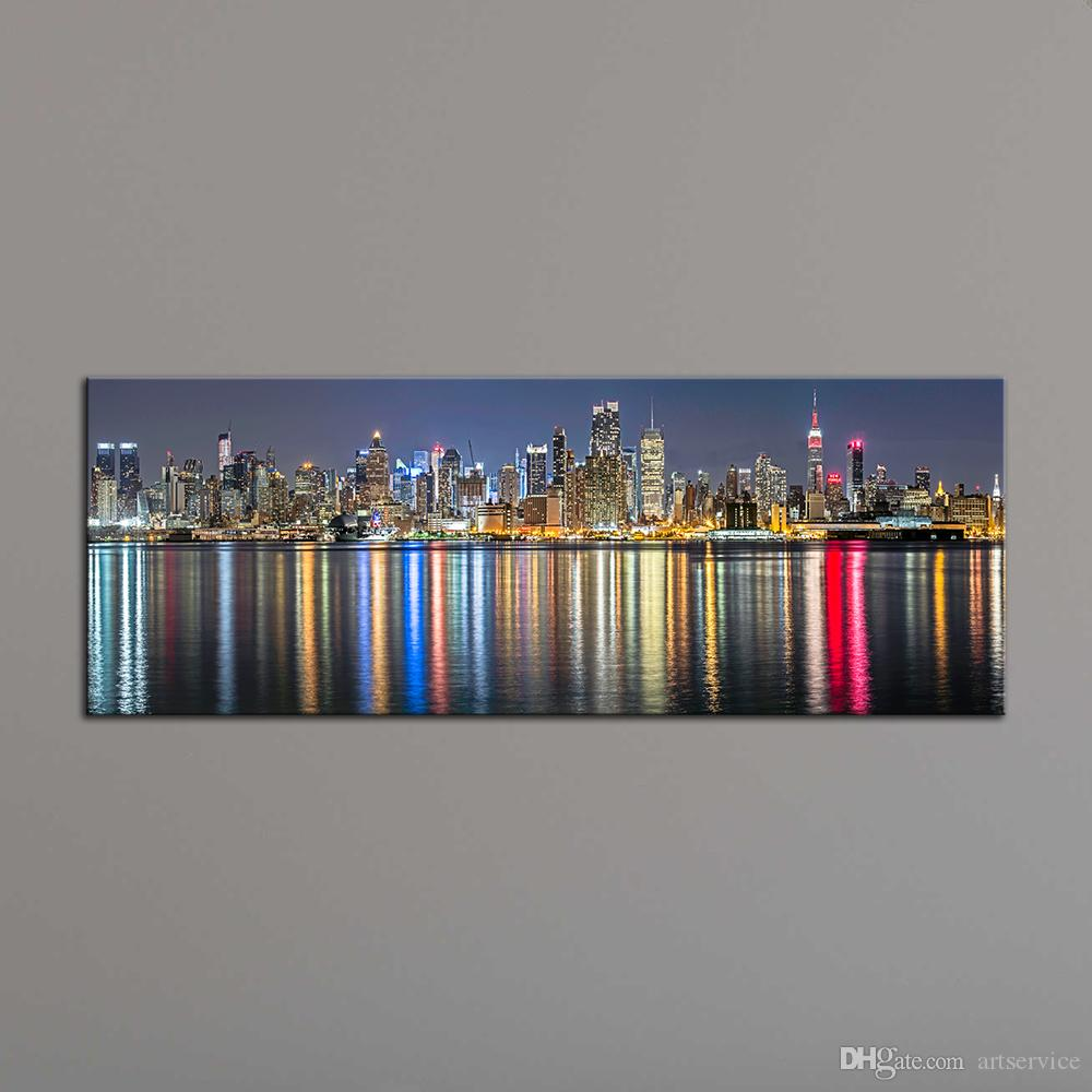 2018 home decoration painting wall art prints of new york city night view panoramic canvas - Wall paintings for home decoration ...