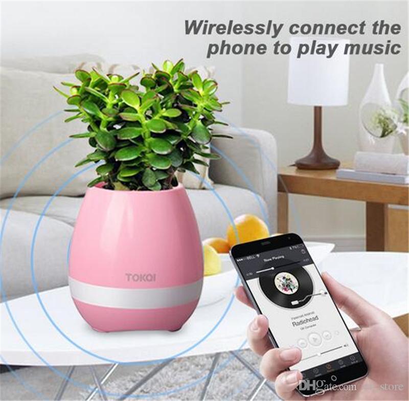 New! Creative Music Vase Smart Music Flowerpot Wireless Bluetooth Speaker K3 Intelligent Plant Piano Music with Colorful LED Night Light