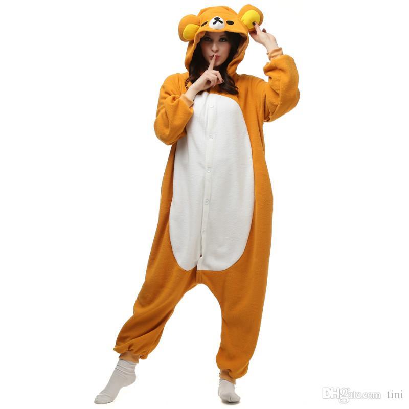 010a8f85e06f Compre Desenhos Animados Rilakkuma KIGURUMI Pijama Unisex   Crianças Adulto  Animal Traje Cosplay Onesie Pijamas S