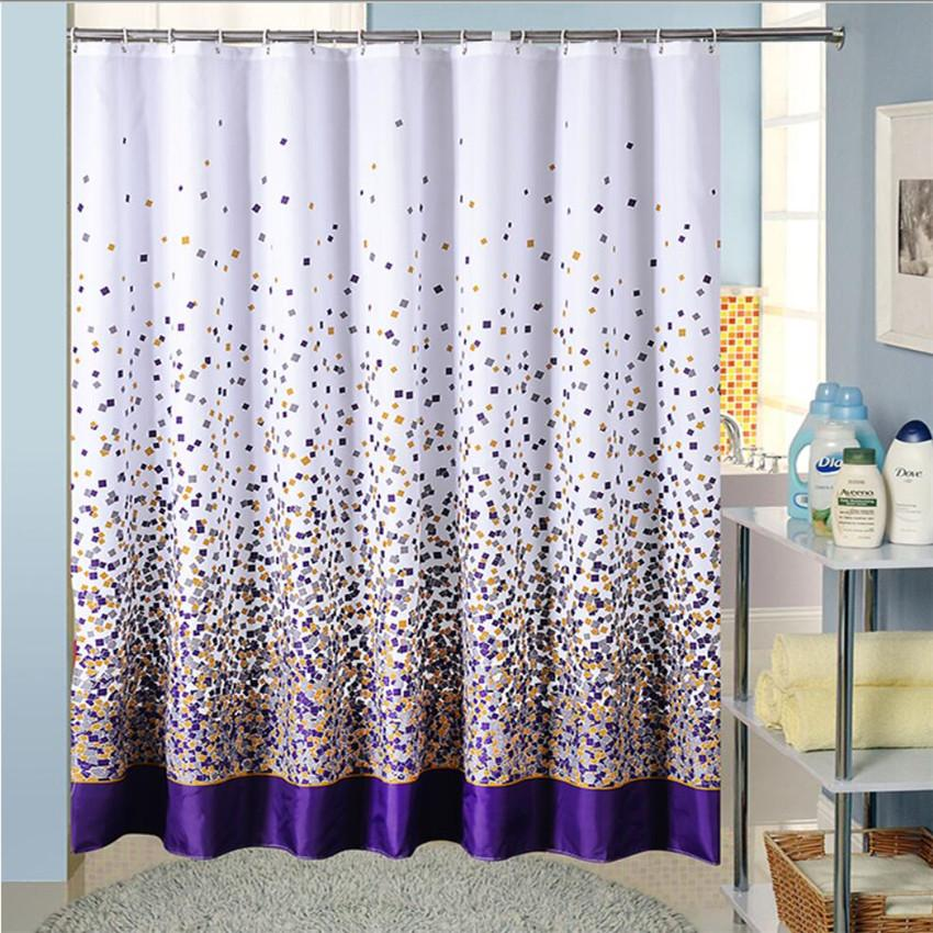 2019 Wholesale Polyester Fabric Bath Shower Curtain With Hooks High Quality Purple Colored Squares Bathing Waterproof Curtains For The Bathroom From