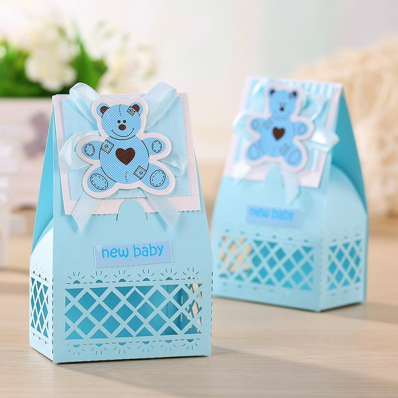 Wholesale Pink And Blue Cute Baby Favors Boxes Baptism Bombonieres