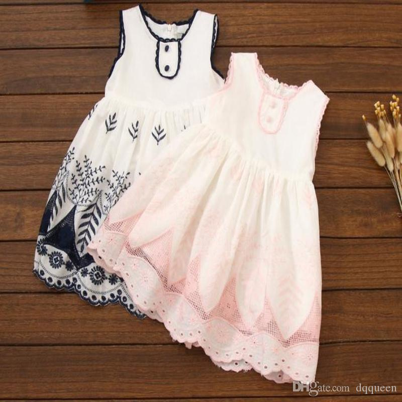 6160c091cbc Online Cheap Baby Girls Dresses Sleeveless Dress Floral Flowers Embroidery  Sweet Princess Flower Girl Dress Blue Pink Black Party Birthday Princess  Dress By ...