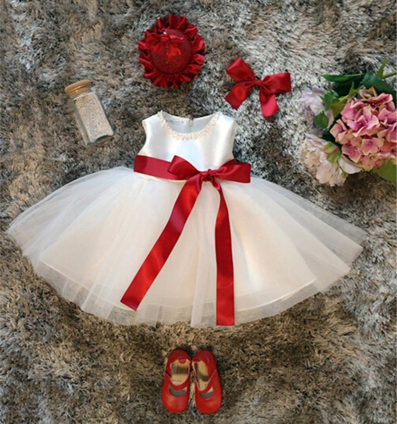 Wholesale- White Baby Girl 1st Birthday Dress Infant Party Tutu Dress Pearls Decoration Baptism Clothes For Newborn Kids Christmas Clothing