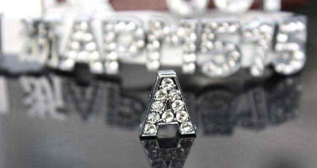 8mm A-Z full rhinestone slide letters DIY accessories fit