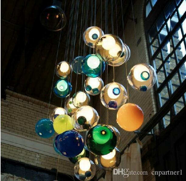 Colorful glass ball lamp g4 led chandelier of colorful glass spheres colorful glass ball lamp g4 led chandelier of colorful glass spheres modern lamp color bubble led crystal chandeliers for dining room living white aloadofball Gallery