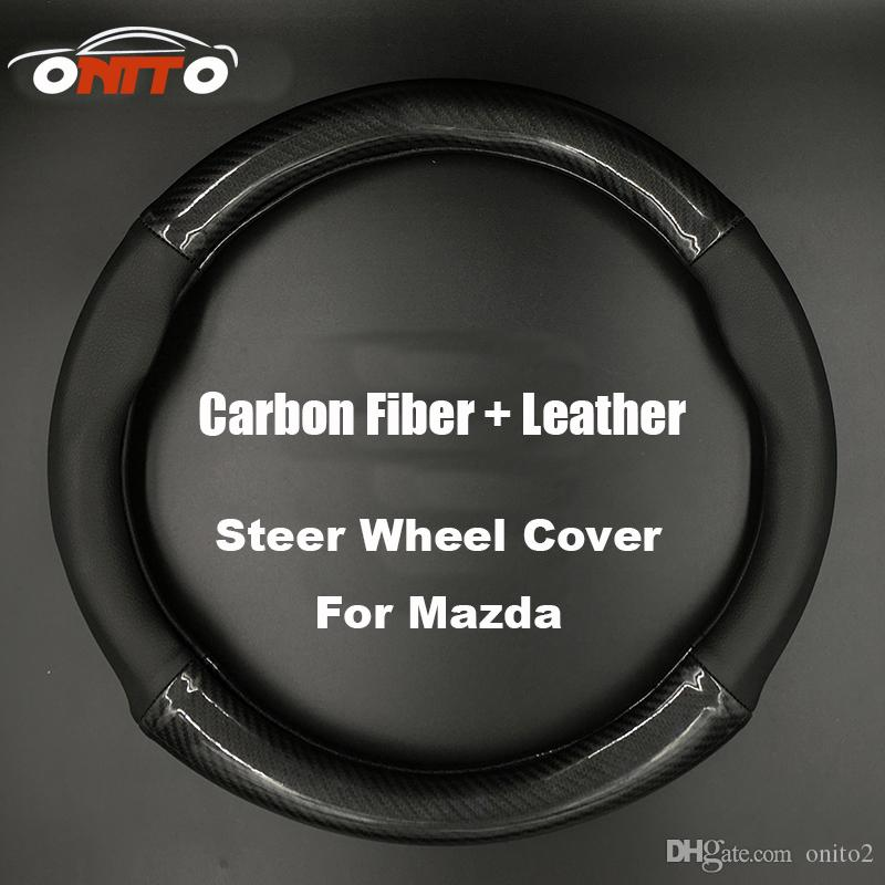 black with logo 380MM Auto Steer Wheel Cover Carbon Fiber&Leather steering wheel cover casing hot selling fit all car steering covers