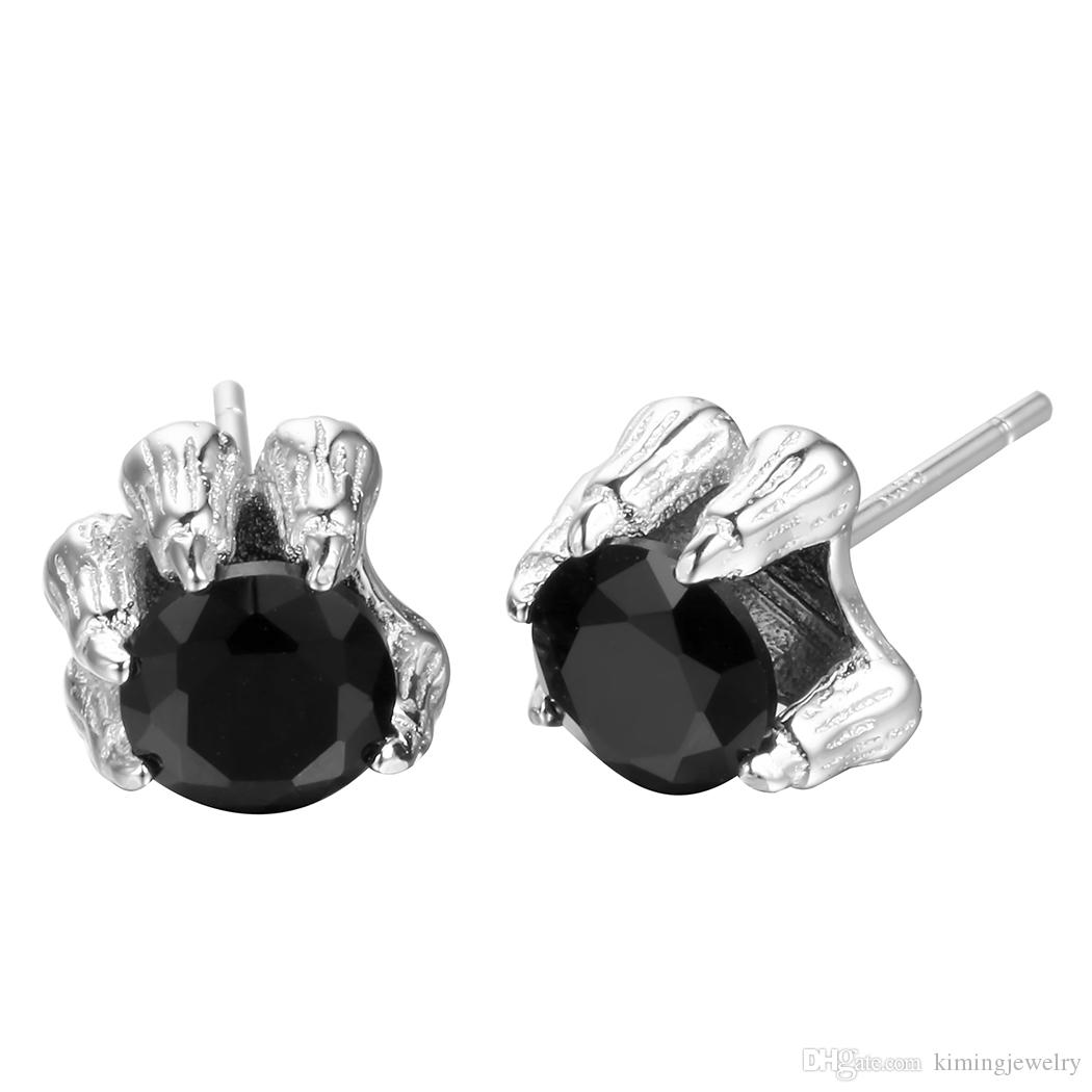 Wholesale 2017 New Arrival Fashion Male Dragon Claw Black Stone Gem 925 Sterling Silver Jewelry Stud Earrings for Men