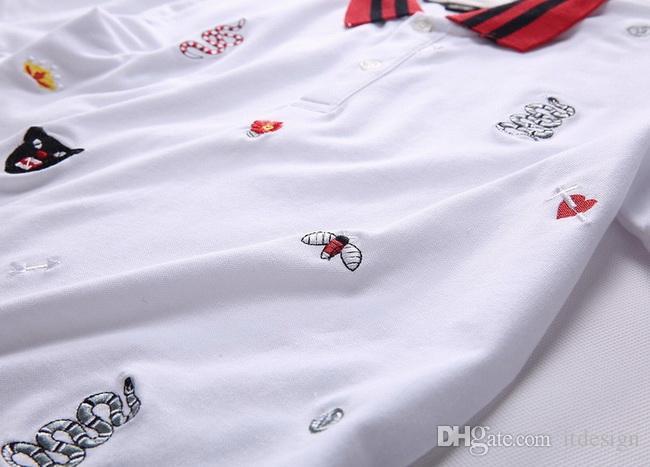 Artı 3XL Boyutu Çok Nakış Polo Gömlek Adam Moda Tasarım Nervürlü Kollu Bölünmüş Hem Streç Polos Üst Erkek