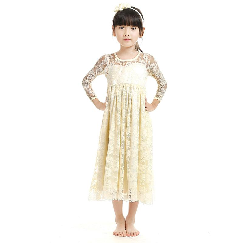 Dept Maxi Jurk.2019 2017 New Girl Lace Maxi Dress Full Length Kids Soft Cute