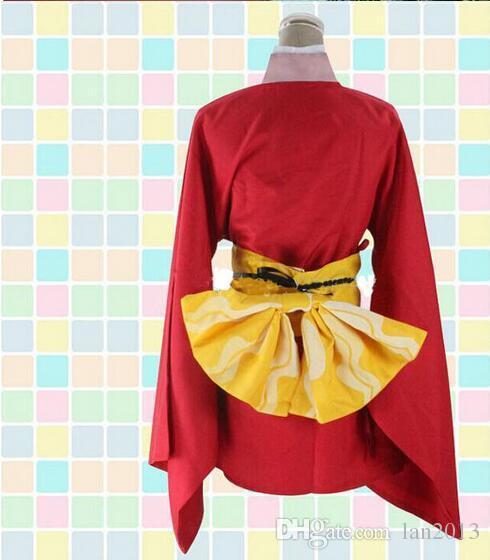 Cadılar Bayramı için Anime Cosplay Kostümler Gintama Gümüş Soul Kagura Kimono Kırmızı Üniformalar