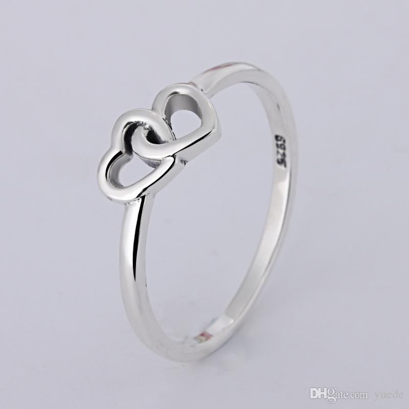 Um atacado 925 amor doce tecido anéis anéis fit pandora cubic zirconia jóias de aniversário para as mulheres presente de natal
