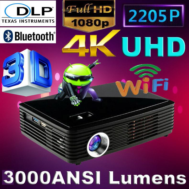 Wholesale-2016 1080P Android 4.4 Wifi Bluetooth Digital Smart DVD Beamer HDMI HD 4K DLP Shutter 3D pico Projector LED Video proyector