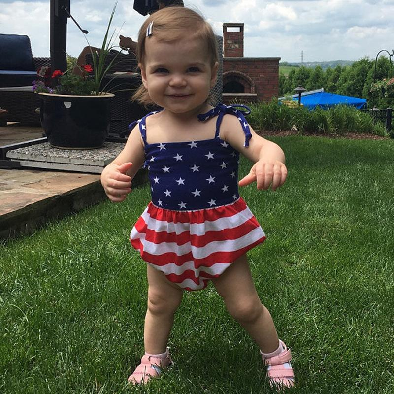 Newborn Baby Girl Romper headband set Summer Sleeveless United States Flag Infant Baby Clothes Toddler Jumpsuit Kids Clothing Outfit