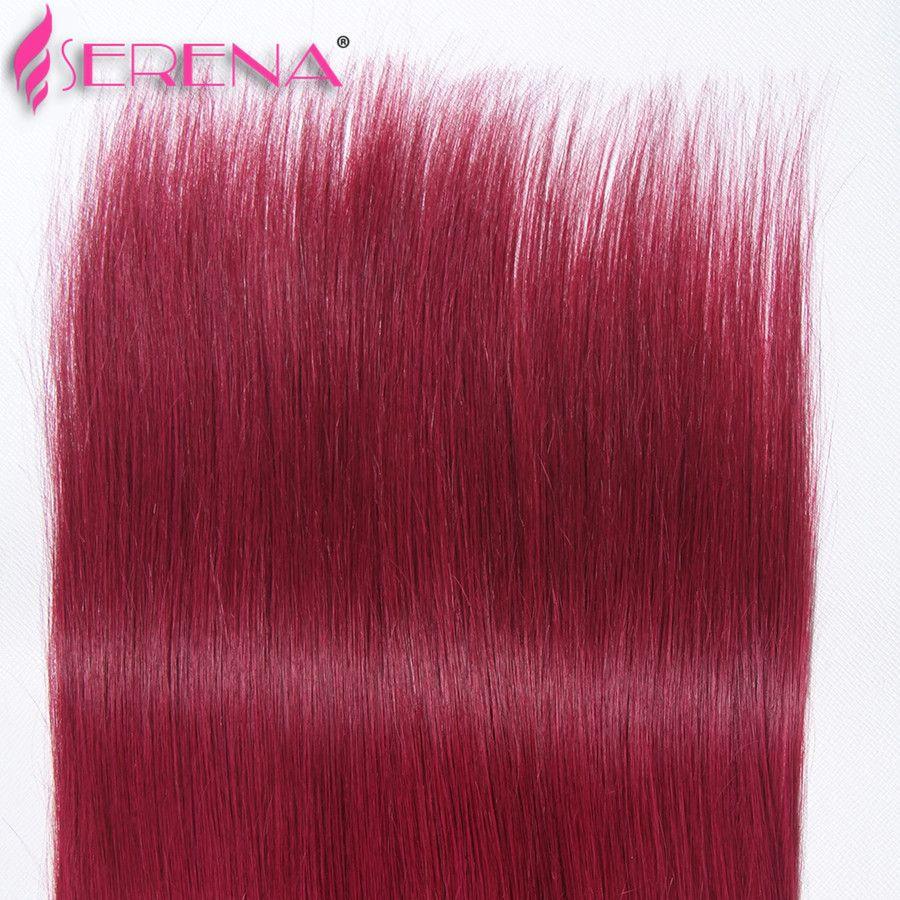 Mink brasilianisches Jungfrau-Haar Glattes Haar Weaves Mit Closure 1b 99J Burgund Ombre Spitze Schliessen mit Bundles Ombre Two Tone Menschenhaar-Webart