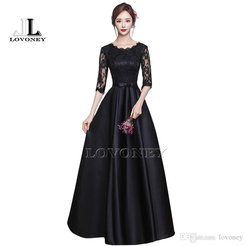 Großhandel Elegante Halbarm Langes Schwarzes Kleid Abendkleid Mit ...
