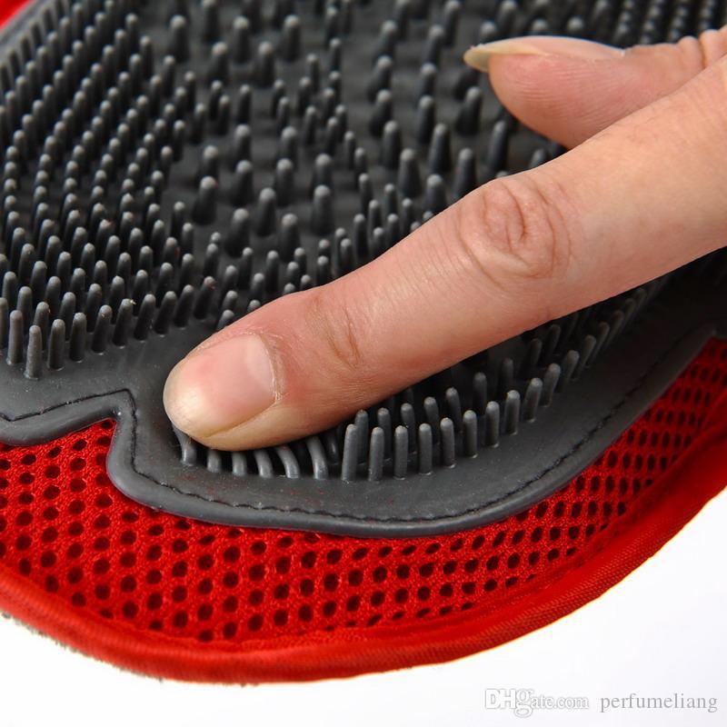 Cat Pet Dog fur Grooming Groom Luva Luva de Menta Escova Comb Massagem Bath Brand New grande ferramenta de lavagem do cão fabricante de Bolhas S201778