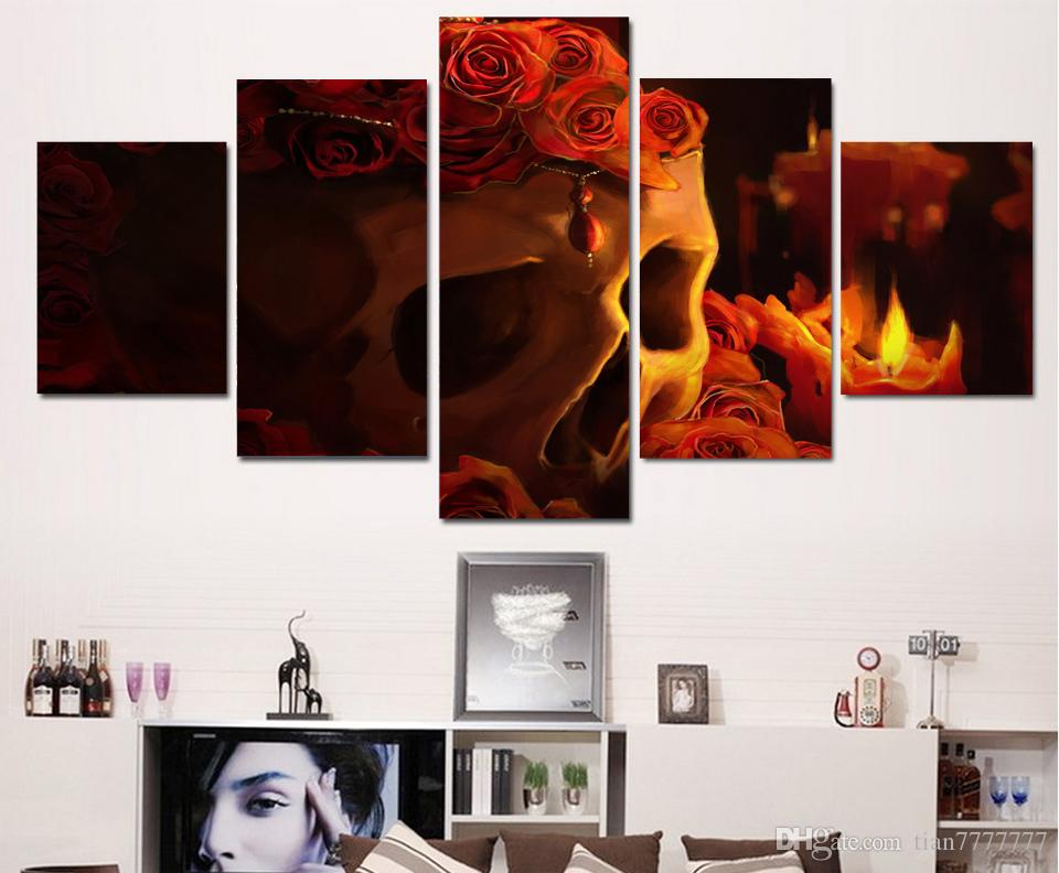New Red Roses Skull Paintings on Canvas Modern Wall Art Print Poster Picture For Home decor Unframed
