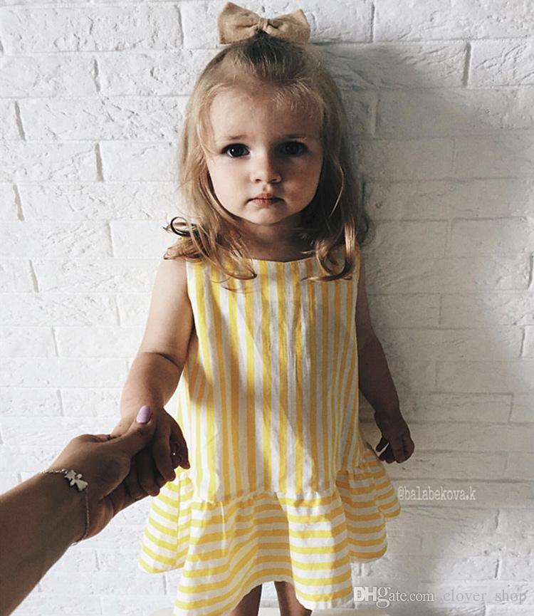 Модная детская одежда для девочек Детские летние платья без рукавов Желтое полосатое детское платье Хлопковая одежда для девочек