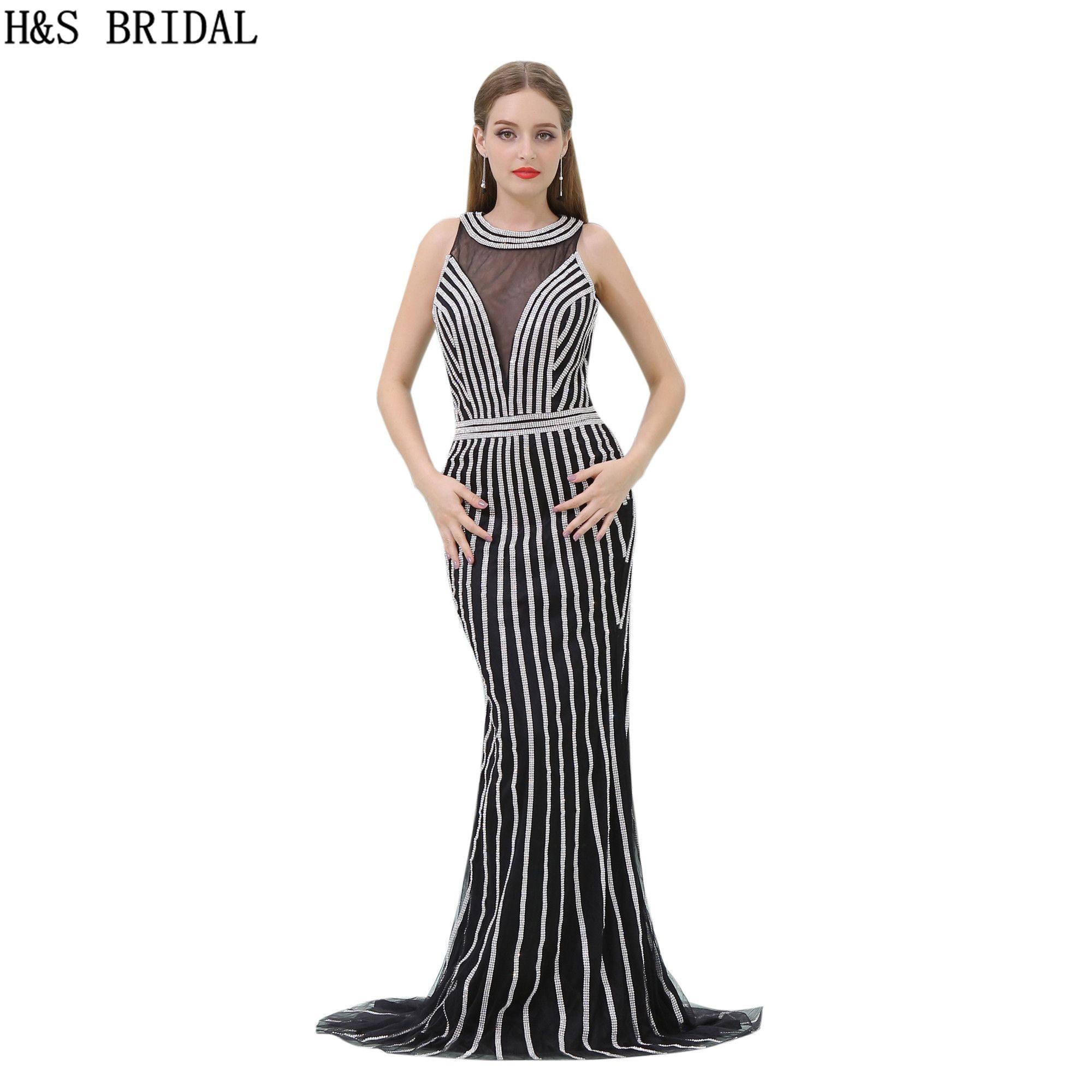 Silver Beaded Black Evening Dress Luxury Shinny Crystals Long Mermaid Sheer  Neck Women Formal Evening Party Gowns New B017 Grey Evening Dress Long  Occasion ... 4fe6af54ac38