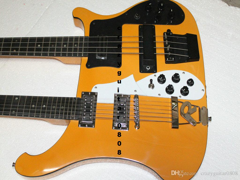 new double neck bass guitar 4 string bass and 12 string guitar yellowelectric guitar oem. Black Bedroom Furniture Sets. Home Design Ideas