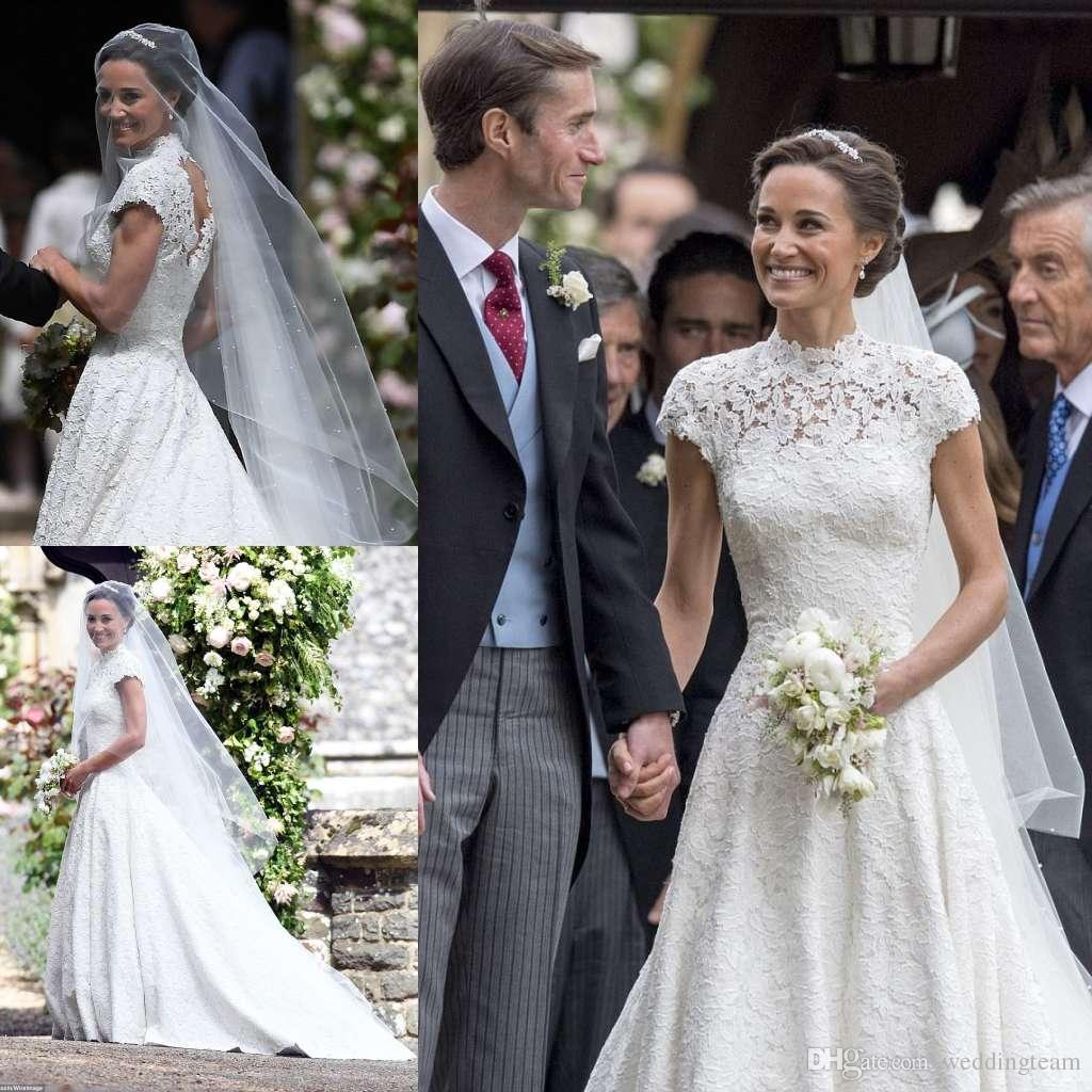 Acheter Pippa Middleton En Robes De Mariée En Dentelle Col Haut A Line Robe De Mariage Perles ...