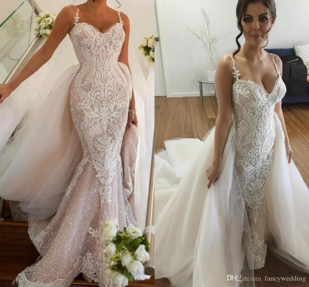 2017 Luxurious Lace Arabic Wedding Dresses Spaghetti Mermaid ...
