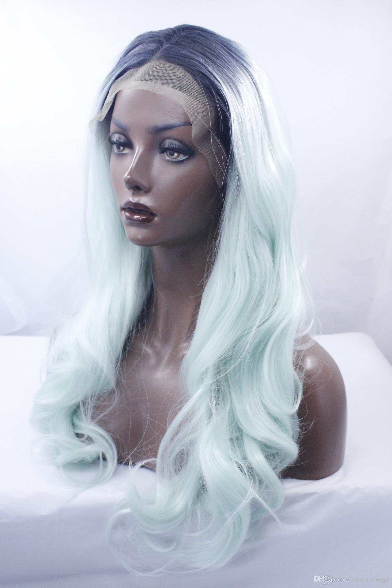 Dark Roots Black Blue Ombre Lace Front Peluca Estilos de cabello sintéticos para mujeres Resistente al calor Dos tonos Pelucas onduladas largas