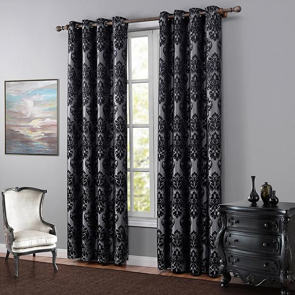 2018 Jacquard Blackout Curtain High End Classical European Black Curtains One Panel For Living Room Bedroom Polyester Drapes From