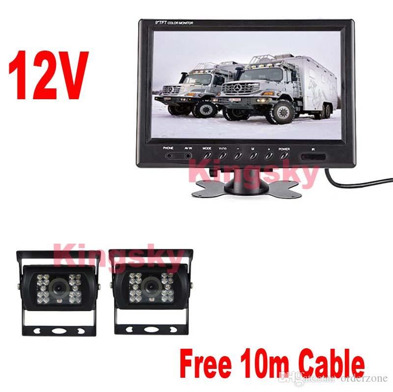 2019 2x 18 LED IR CCD Reverse Parking Backup Camera 12V 9 LCD Car Rear View Monitor Display For Bus Truck 10m Cable From Orderzone 11533