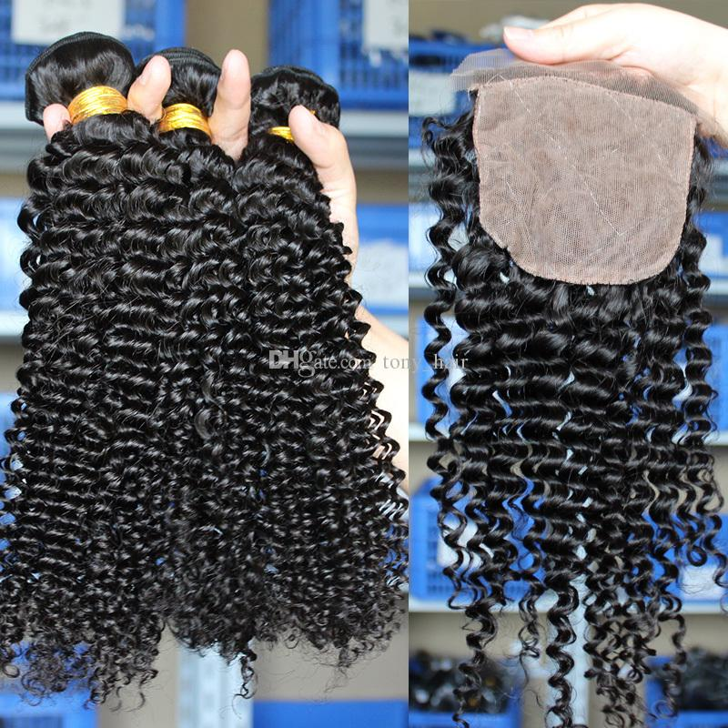 Braziian Kinky Curly Virgin Hair Weaves With 4*4 Silk Base Lace Closure With Human Hair Bundles Kinky Curly Human Hair Extensions
