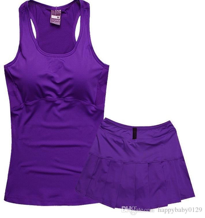 С нагрудным теннисным жилетом костюм NK женский фитнес-юбка костюм Тонкий спортивный жилет без рукавов юбка