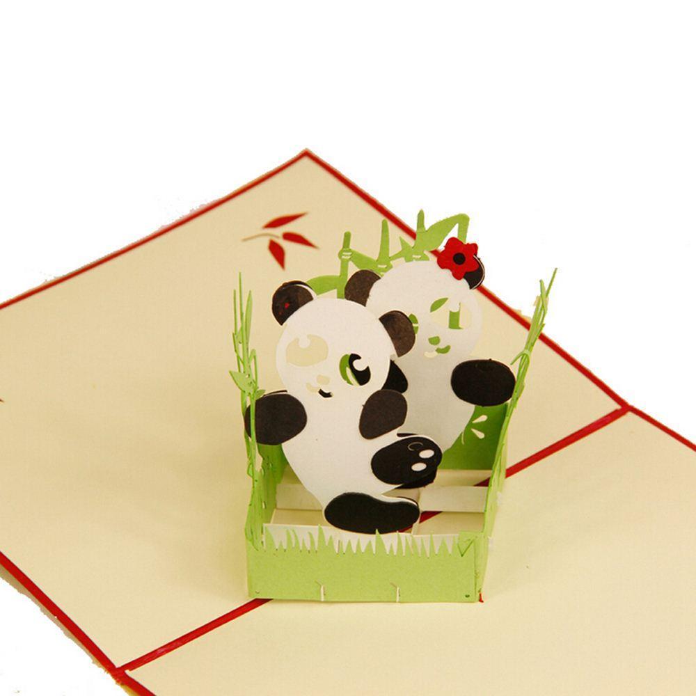 Creative 3d Cute Panda Greeting Card Custom Handmade Festival Card