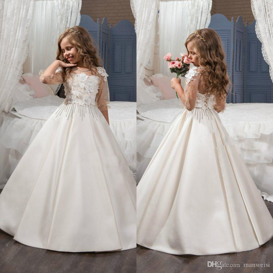 3d floral appliques crystal flower girls dresses for weddings beads 3d floral appliques crystal flower girls dresses for weddings beads half sleeve cheap lace ball gown girl communion dress teenage girl dresses toddler izmirmasajfo