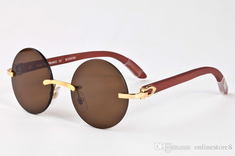 جديد عادي مرآة نظارات بدون شفة الذهب مع براون بافالو القرن نظارات شمسية مصمم العلامة التجارية جولة النظارات oculos دي سول