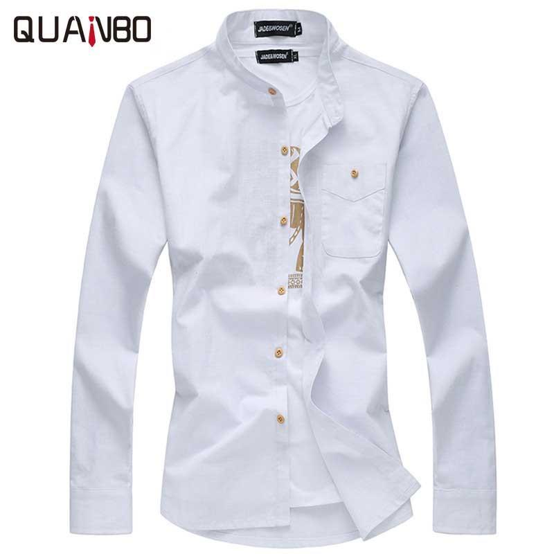 351b3bc9b37 Wholesale- Men camisas casual 2017 New Fashion white-shirt Men s  long-sleeved shirt slim fit linen shirts men business shirts Plus size 6xl