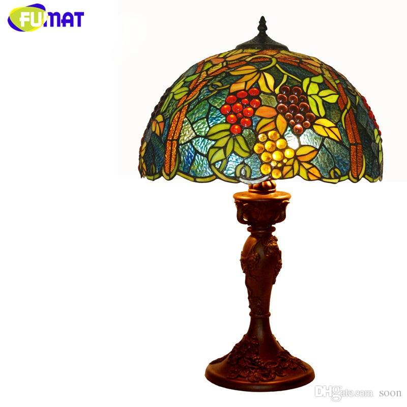 FUMAT Tiffany Stained Glass Lamp Living Room Bedside Table Lamp High  Quality Grapes Harvest Glass Shade Decor Light Tiffany Table Lights Grapes Table  Lights ...