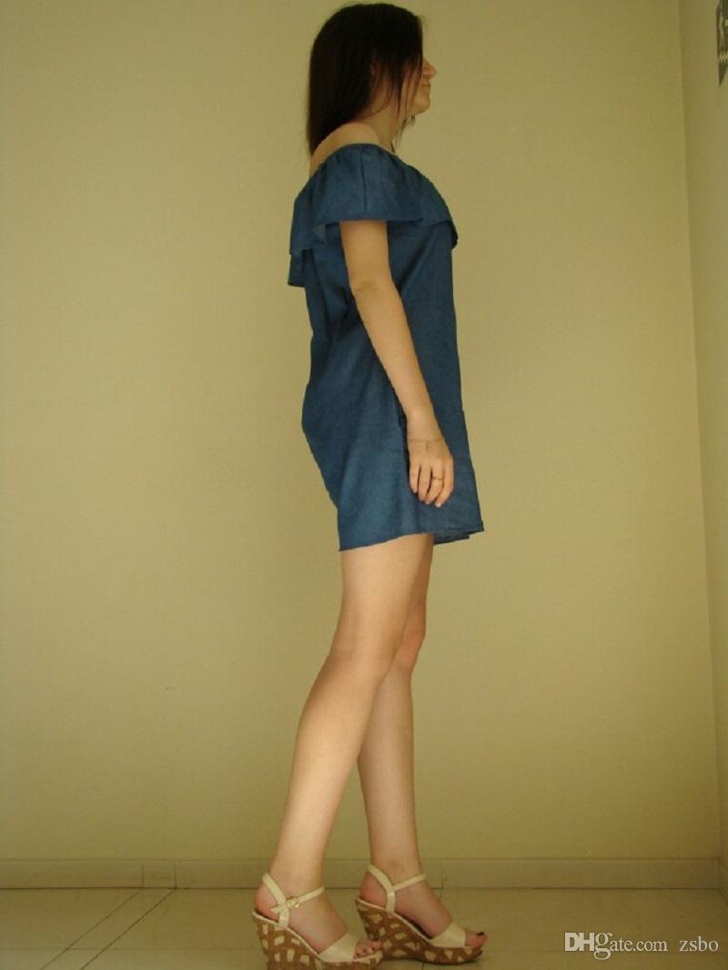 النساء اللباس موضة جديدة مصمم فضفاض مائل العنق جينز فساتين الصيف عارضة أكمام السيدات أنيقة الدينيم فساتين GZQZ3 RF
